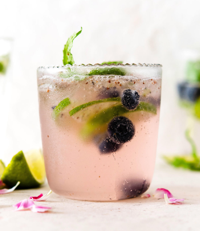 Elderflower Blueberry Lime Virgin Cocktail